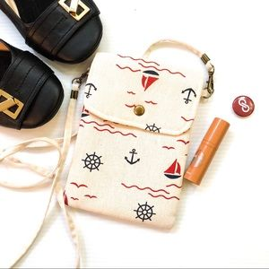 Handbags - Nautical Print Smartphone Canvas Mini Crossbody